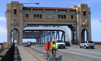 The Burrard Bridge two-lane trial: artist's impression