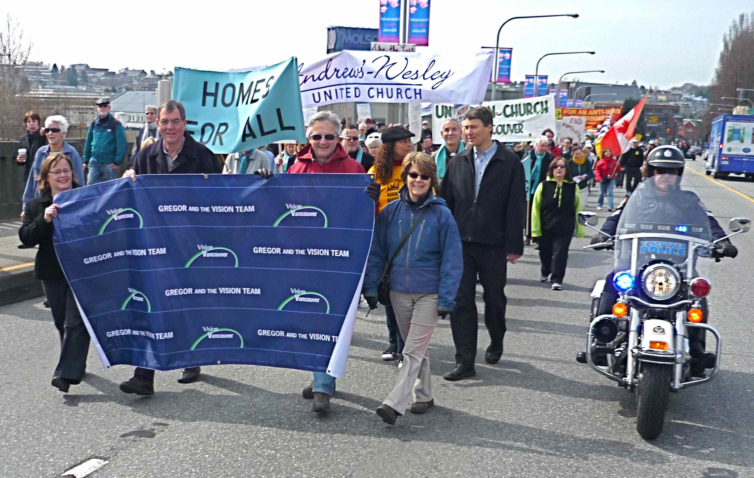 Vision marchers (left to right) Heather Deal, TIm Stevenson, Geoff Meggs, Jan O'Brien and Gregor Robertson.