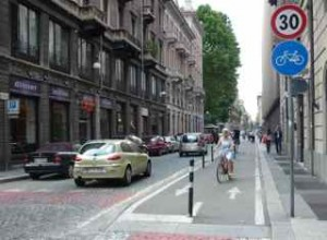 RECOMMENDED APPROACH: separate lanes for cars, cyclists and pedestrians as seen last week in Torino, host city for the 2006 Winter Olympic Games.
