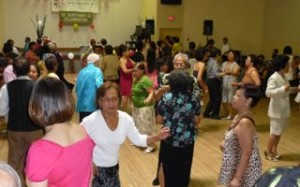 The Sunday crowd dancing at the Filipino-Canadian New Era Society birthday celebration.