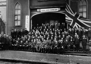 The Canadian Japanese Volunteer Corps in Vancouver, about 1916. The volunteers had to travel to Alberta to enlist and suffered heavy casualties in the trenches. They hoped their sacrifice would win them the vote.
