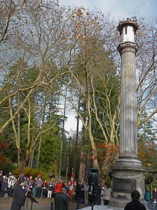 November 11 Remembrance Day ceremony at the Japanese Canadian War Memorial in Stanley Park.