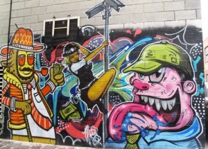 Christmas Eve mural created in Melbourne by Oz graffiti artist Meggs and friends.