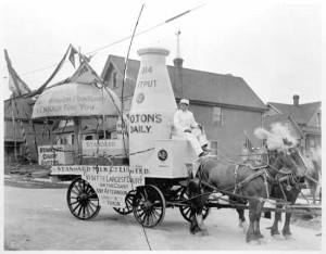 A Standard Milk Co. parade float in 1914. Is the driver the original tenant from 304 W. 6th, now slated for demolition to make way for a BCTC substation? Did he plant the Mount Pleasant heritage apply tree?