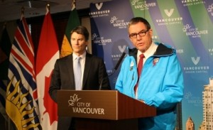 Mayor Gregor Robertson and Councillor Tim Stevenson announce the Sochi initiative.